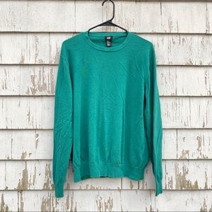 bright green crewneck sweater